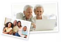 This image is a collage of two images. The first is of a family smiling and embracing. The second image shows a couple browsing the internet.