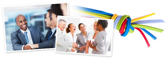 This image is a collage of 3 images. The first image shows a group of business men shaking hands. The middle image shows a group of friends laughing. The third image is a group of colorful rubber bands tied together.