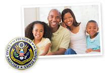 This is a collage of two images. The first image shows the Presidential Seal. The second image shows a family of a mom, dad, daughter, and son, smiling and embracing.
