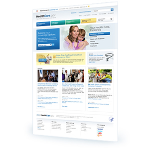 A screenshot of the HealthCare.gov Website