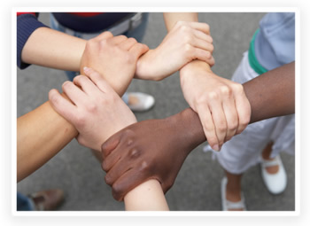 People of all races and ethnicities holding hands