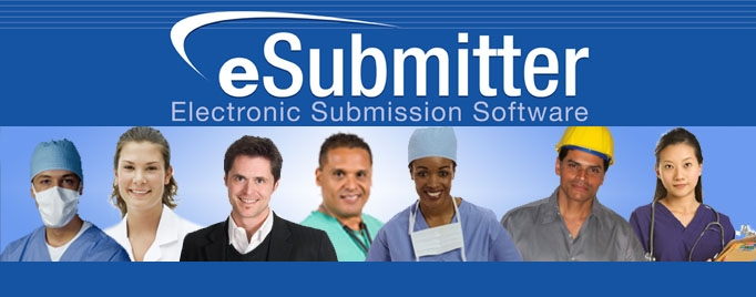 Title: eSubmitter Electronic Submissiont Software.  Picture of 7 different people dressed as health professionals