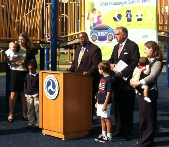 Photo of NHTSA Administrator David Strickland and DOT Sec. Ray LaHood at CPS event 9-17-2012