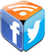 social media cube made up of twitter, facebook and rss icons