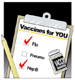 Clipboard with checklist of vaccines