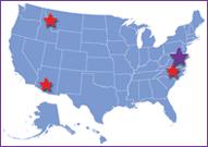 Map of United States with a stars over Bethesda, Maryland; Hamilton, Montana; Research Triangle Park, North Carolina and Phoenix, Arizona