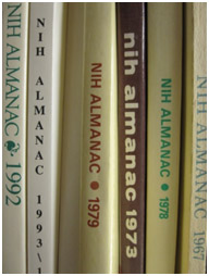 photo of several printed almanacs from previous years.