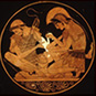Greek Medicine from the Gods to Galen exhibition: In this noted vase painting, Achilles tends to the wounds of Patroclus.