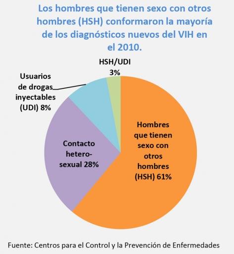 Pie chart showing new HIV Diagnoses in 2010. Hombres que tienen sexo con otros hombres (HSH), 61%. Contacto hetero-sexual, 28%. Usuarios de drogas inyectables (UDI), 8%. HSH/UDI, 3%. Fuente: Centros para el Control y la Prevención de Enfermedades