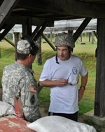 A military instructor teaches civilian therapists about the military way of life during Operation Immersion in Warwick, Rhode Island.