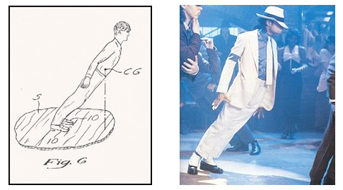 """Image description: The Archivist of the United States recently posted this story about patents that you may not know:  You may think that the National Archives is an unlikely place to learn the secrets of Michael Jackson's dance moves — but you're wrong! Within Record Group 241, Records of the Patent and Trademark Office, patent 5,255,452 gives us the secrets behind one move in particular — Michael's """"lean"""" as done in the music video, """"Smooth Criminal.""""  Learn more about Michael Jackson's patent for """"method and means for creating anti-gravity illusion."""""""