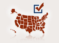 red United States map with a check mark