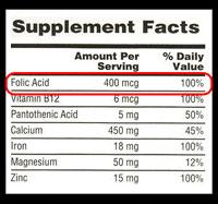 Mira la etiqueta de los alimentos para ver si contiene ácido fólico.
