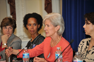 HHS Secretary Sebelius speaks at a Women's Health Town Hall event at the White House. Credit: Photo by HHS/Michael Wilker.