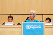 HHS Secretary Sebelius addresses the 65th World Health Assembly in the Palais Des Nations, Salle Des Assemblees. Credit: Photo by Eric Bridiers.