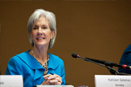 HHS Secretary Sebelius leads a panel discussion at the 65th World Health Assembly. Credit: Photo by Eric Bridiers.