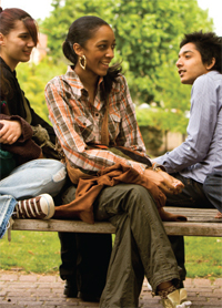 Young people having conversation