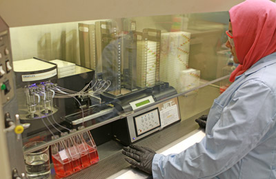 Lab technician under a hood, using device that loads plates with cell cultures