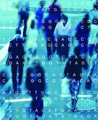 Illustration of a group of people with DNA sequence superimposed