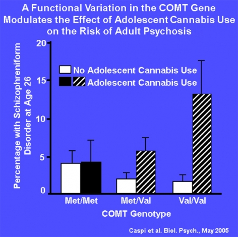 A Functional Variation in the COMT Gene Modulates the Effect of Adolescent Cannabis Use on the Risk of Adult Psychosis graph