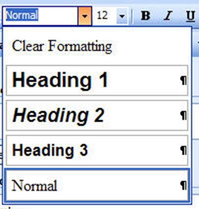 Screen capture of the text tool showing the dropdown menu to select other styles.
