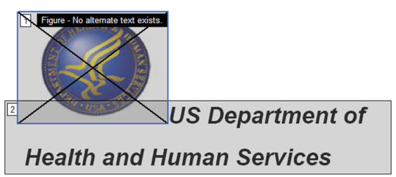 Images and figures that do not have alternate text have an x through them and the label reads: No alternate text exists.