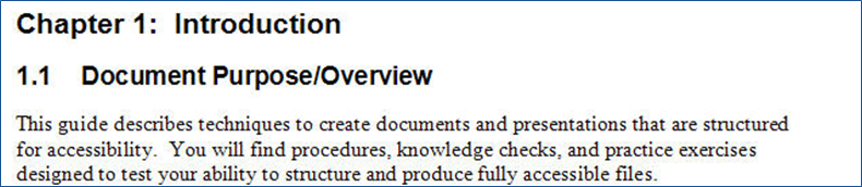 Screen capture of document having two levels of headings and body text.