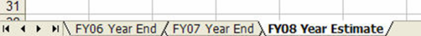 Meaningful titles on a word sheet such as: FY06 Year End, FY07 Year End and FY08 Year Estimate.
