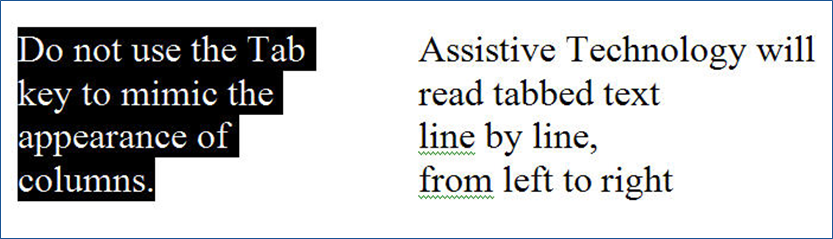 Graphic with two columns. The first columun highlights the text 'Do not use Tab key to mimic the appearance of columns.' The second column contains the unhighlighted text, 'Assistive Technolgy will read tabbed text line by line, from left to right.'