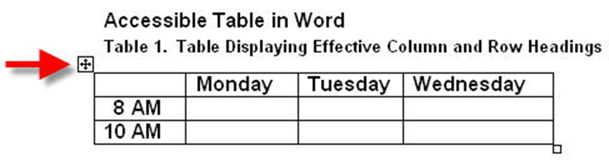 Table in MS Word. The anchor icon is shown in the upper left-hand corner, below the caption for the table.