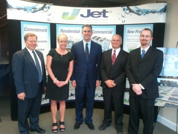 """Under Secretary Francisco Sanchez (center) meets with Jet Inc.'s President Ron Swinko (far left) and other staff at their manufacturing facility in Cleveland, OH as part of the """"Made in America Manufacturing Tour."""" in October 2012."""