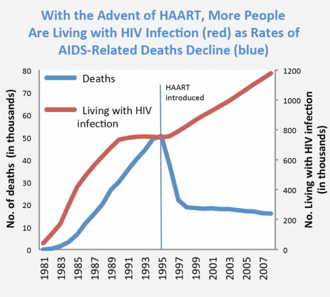 Graph showing that when HAART was introduced in 1995, the number of HIV related deaths decreased by nearly 30,000 over a two year period and remained steady through 2007, while the number of those living with HIV steadily increased by nearly 400,000 over the same period of time.