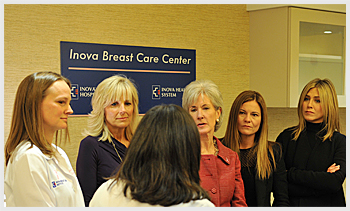 HHS Secretary Sebelius joins Jennifer Aniston, wife of the vice president, Jill Biden, and others at the Inova Breast Cancer Center in Alexandria, VA, on October 3, 2011. Credit: HHS Photo by Chris Smith.