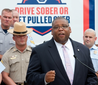 NHTSA Administrator David Strickland announcing the start of the national anti-drunk driving crackdown