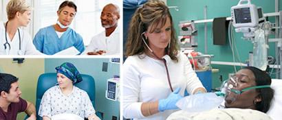 Imágenes de médicos y pacientes.