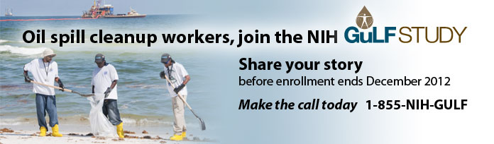 Workers on the beach cleaning up after gulf spill: JOIN GULF STUDY: 1-855-NIH-GULF