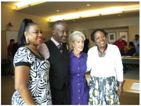 Secretary Sebelius (second from right) at a community roundtable in New Orleans with Dr. Beverly Wright, Deep South Center for Environmental Justice Executive Director (left), and other participants.