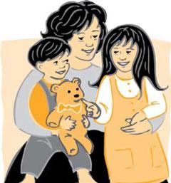 Ilustración: Mamá abrazando a sus hijitos