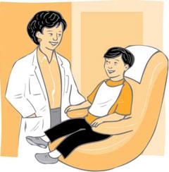 Ilustración: La dentista sonríe al niño sentado en la silla dental