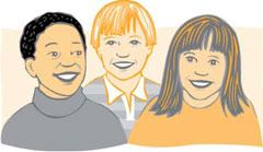 Ilustración: Tres niños sonriendo
