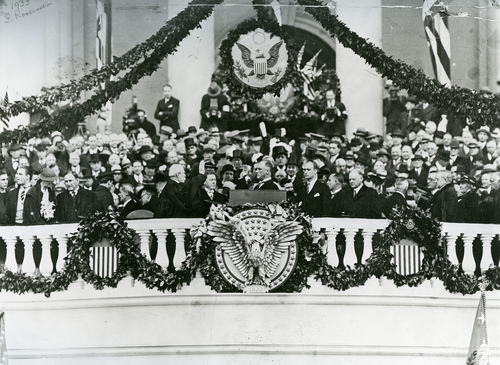 Image description: This inauguration ceremony for Franklin D. Roosevelt was held on March 4, 1933. It was the last ceremony to be held in March. All subsequent inaugurals have been held in January. Photo from the Architect of the Capitol