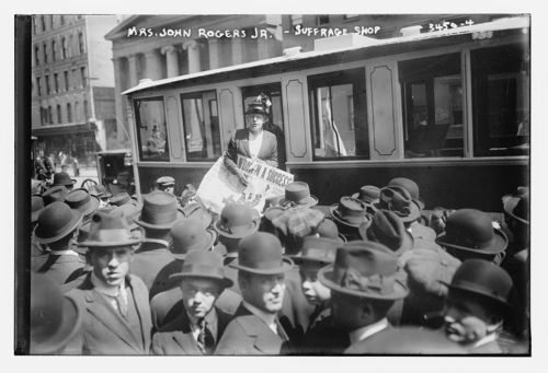 Image description: Mrs. John Rogers Jr. campaigns for the right to vote sometime between 1910 and 1915. This photo was taken by the Bain News Service. View other Bain News Service photos showing life in the 1910s. Photo from the Library of Congress Prints and Photographs Division