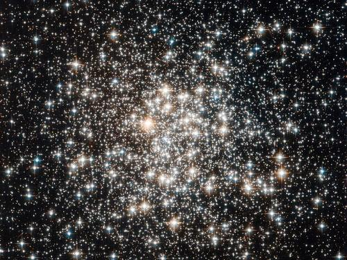 Image description: The Hubble Space Telescope captured a crowd of stars that looks rather like a stadium darkened before a show, lit only by the flashbulbs of the audience's cameras. Learn more about these stars. Photo by ESA/NASA