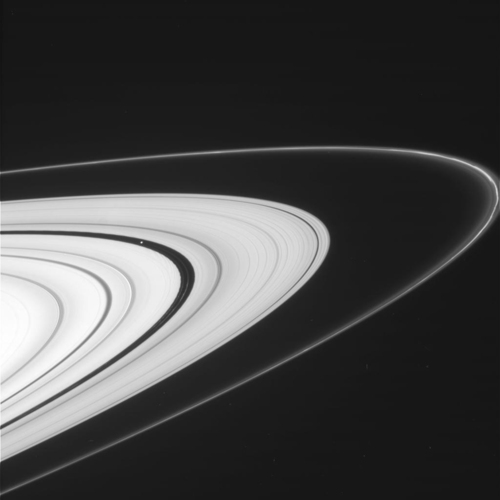 Image description: NASA's Cassini spacecraft resumed the kind of orbits that allow for spectacular views of Saturn's rings. This view, from Cassini's imaging camera, shows the outer A ring and the F ring. Learn more about Cassini's new view of Saturn. Image from NASA/JPL-Caltech/SSI
