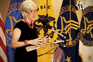 HHS Secretary Sebelius speaks at the HHS Innovates Award Ceremony. Credit: Photo by Chris Smith – HHS Photographer.