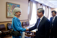 HHS Secretary Sebelius shakes hands with Taiwan's Minister of Health, Wen-Ta Chiu, at a bilateral meeting with Taiwan, at the 65th World Health Assembly. Credit: Photo by US Mission/Eric Bridiers.