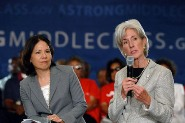 HHS Secretary Sebelius and Nancy Ann DeParle talk about the benefits of health reform. Credit: Photo by Chris Smith – HHS Photographer.