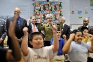 HHS Secretary Sebelius and Congressman John Yarmuth at a Louisville elementary school.