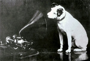 Francis Barraud's painting of a dog looking into a phonograph