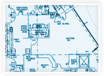 Blueprints of a clinic waiting room, exam rooms, and reception area